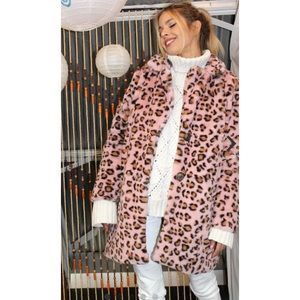 Pink Leopard Faux Fur Coat NWT